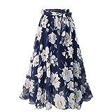 NOBRAND Grande jupe en mousseline de soie florale avec ceinture élastique - Bleu - XXXXL