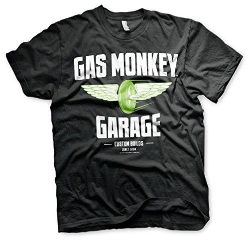 Gas Monkey Garage - Speed Green Wheels T-Shirt Gas Mono Garaje - Verde velocidad Ruedas de la camiseta (Negro) (Pequeña)