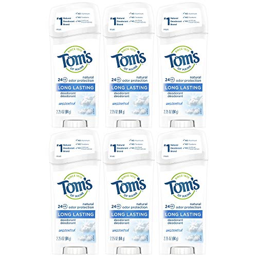 Tom's of Maine Natural Deodorant Stick, Unscented, 2.25-Ounce Stick (Pack of 6) par Tom's of Maine