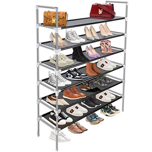 SANLIKE 6 Tiers Metal Shoe Organizer,Sturdy Shoe Rack 30-Pair Stainless Steel Non-Woven Fabric Shoe Storage Rack