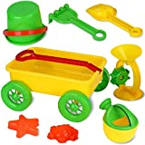Liberty Imports Kids Beach Wagon Toys Set - Outdoor Sand Toys Sandbox Set with Big Pull Wagon, Sand Wheel, Bucket, Tools, & Molds (8 Pieces)