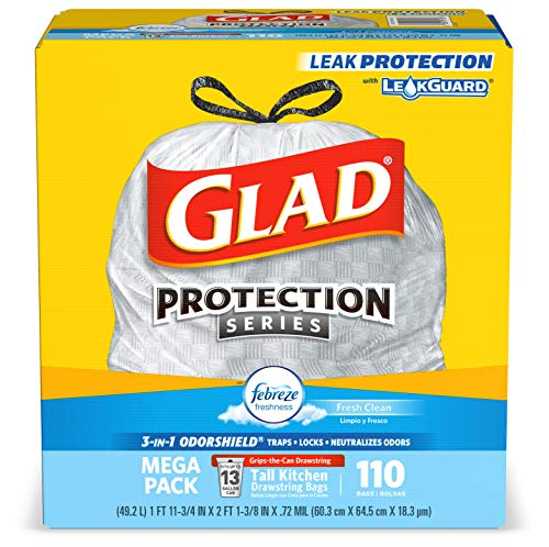 Glad ForceFlex Tall Kitchen Drawstring Trash Bags 13 Gallon Grey Trash Bag, Unscented 80 Count (Package May Vary) 6
