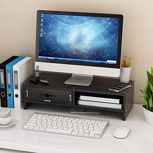 MJL Soporte para Computadora, Soporte de Madera para Monitor, Soporte para Monitor de Computadora Portátil, Organizador de Almacenamiento para Escritorio, Negro, 2 Niveles (1 Cajón)