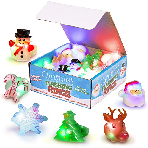 Narwhal Novelties CHRISTMAS Theme Flashing Light Up Toy Rings, LED Jelly Rings, Snowman, Reindeer, Candy Cane, Snow Flake Party Favors For Kids (12-Pack)