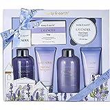 Coffret de Bain & Douche pour Femme, Body&Earth 6 Pièces Coffret Cadeau au Parfum de Lavande, Parfait Cadeau pour l'Anniversaire et le Noël
