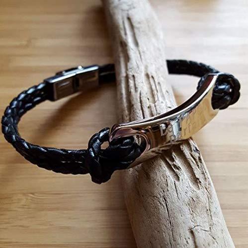 MELI MELOW bracelet gourmette pour homme en acier et cuir noir stressé avec gravure bijou personnalisé gravé