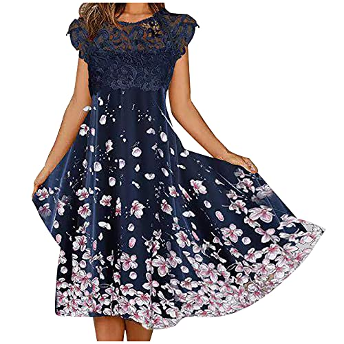 JXQ-N Damen Spitzenkleid Blumen Elegant Minikleid Elegant A Linie Partykleid Hohe Taille Netz Kleid Festliches Kleid Einfarbig Faltenkleid Sexy Shortkleid