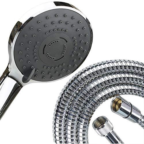 Sanixa Handbrause Duschkopf mit Schlauch Set Duschbrause Brausekopf für Duscharmatur 3 Strahlarten Duschset mit Brauseschlauch Chrom verstellbar (Schlauch 200 cm)