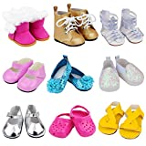 Ecore Fun 9 Pairs of Shoes Fit for American 18 Inch Girl Doll Shoes Including Snow Boots, Leather Shoes, Sandals, Slipper