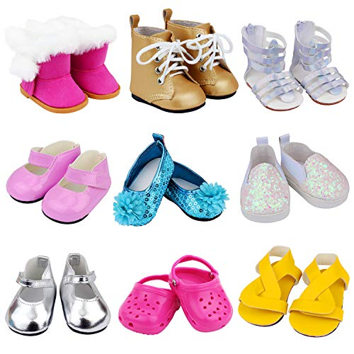 Ecore Fun 9 Pairs of Shoes Fit for 18 Inch Girl Doll Shoes Including Snow Boots, Leather Shoes, Sandals, Slipper