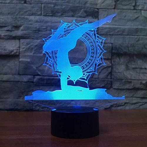 Des Nachtlichts 3D3D Nachtlicht Illusionslampe Usb Yoga Modellierung Tisch Led Tänzer 7 Farben Acryl Nachttisch Schlaf Beleuchtung Wohnkultur Kinder Geschenke-Mit Fernbedienung