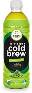 Matcha Love Cold Brew Unsweetened Plus Green Tea 15.9 Ounce Bottle (Pack of 12) Unsweetened Five Calories No Sugar or Artificial Sweeteners USDA Certified Organic Caffeinated