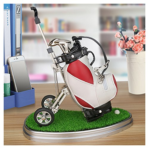 10L0L Mini Desktop Golf Bag Pen Holder with Lawn Base and Golf Pens 3-Piece Set of Golf Souvenir Tour Souvenir Novelty Gift for Golfer,Father,Boyfriend (red and White)