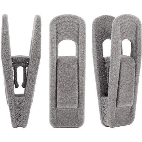 Pzpgeq Fluwelen hanger clip, 24 stuks beige broek fluwelen clip, sterke vinger stroomden clip, zeer geschikt om te matchen met dunne fluwelen hanger