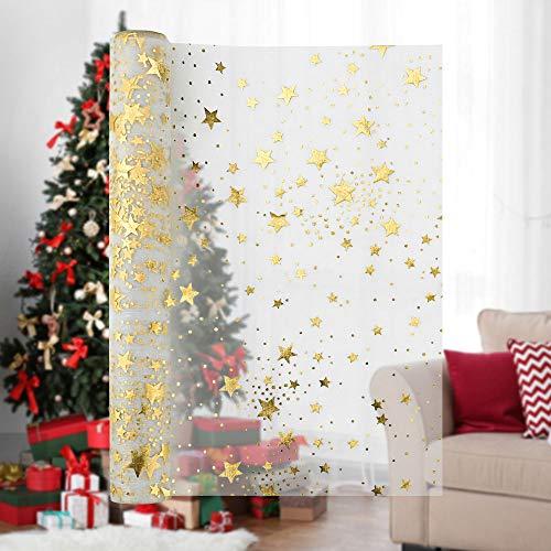 IGRMVIN 1 Roll Weihnachten Tischläufer Sterne 28 cm x 5 m Glänzend Tischläufer mit Sternen Organza Tischband Deko Weihnachtsfeier für Tischdeko Weihnachten Hochzeit Geburtstag Taufe Adventszeit