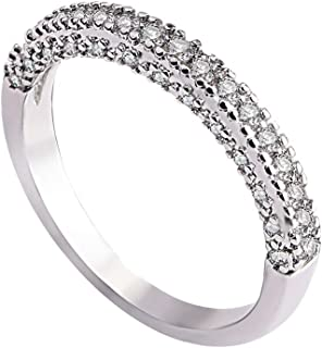 Kintaz Women Men Lovers Engagement Fashion Simple Full Diamonds Zircon Ring Jewelry (7, Silver-Men)