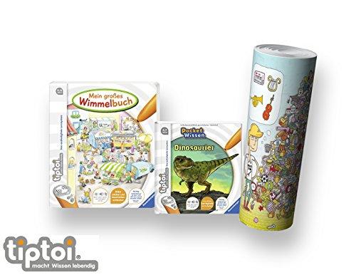 tiptoi Ravensburger Buch 4-7 | Mein großes Wimmelbuch + Pocket Wissen - Dinosaurier + Kinder Wimmel Such-Poster