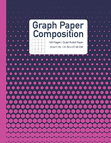 Graph Paper Composition Notebook: Quad Ruled with Half Tone Pink and Navy Blue