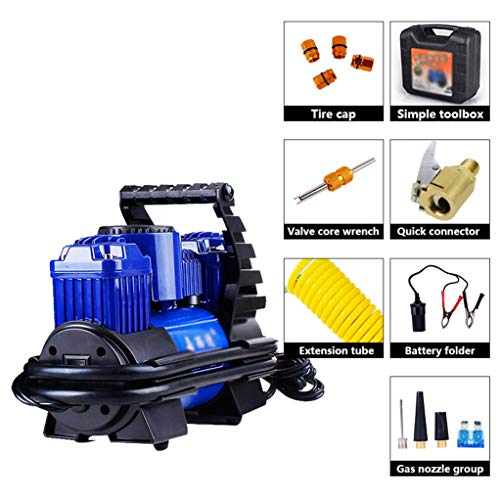 Air Compressor Tire Pomp, Portable Tire Inflator met manometer Heavy Duty Dubbele Cilinders 200W High Power luchtpomp met Portable Bag