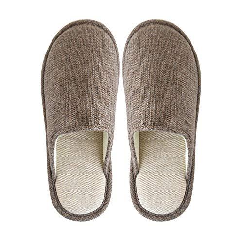 B/H para Invierno Casa Zapato Antideslizante,Zapatillas de Tela, Desodorante para casa e Interior, para Hombre y Mujer-marrón_42-43