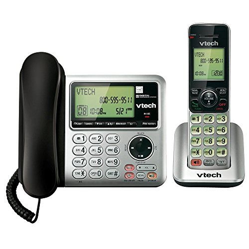 VTech CS6649 Expandable Corded/Cordless Phone System with Answering System-Caller ID/Call Waiting &...