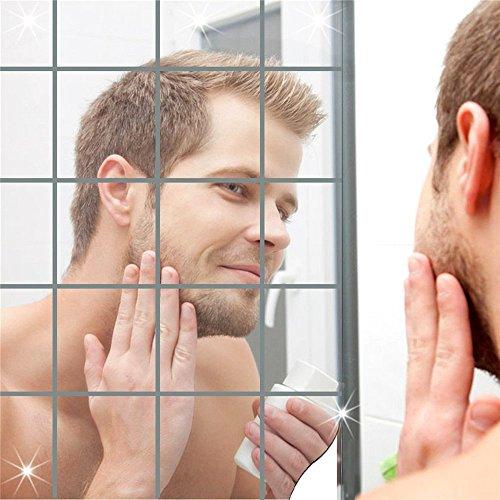 Forepin 16 pezzi/set Quadrati Specchi da parete Autoadesiva Mosaico Piastrelle Fai da te 15cm*15cm Adesivi Murali Camera da Letto Soggiorno Bagno Decorazioni Self-adhesive DIY Mirror Wall Stickers
