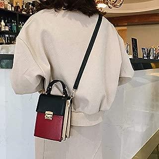 Fashion Single-Shoulder Bags Color Matching PU Lock Buckle Single Shoulder Bag Cellphone Bag Ladies Handbag Messenger Bag (Black) (Color : Black)
