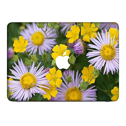 Virano Blumen 10012, Bunte Blumen, Skin-Aufkleber Folie Sticker Laptop Vinyl Designfolie Decal mit Ledernachbildung Laminat und Farbig Design für Apple MacBook Pro Retina 15