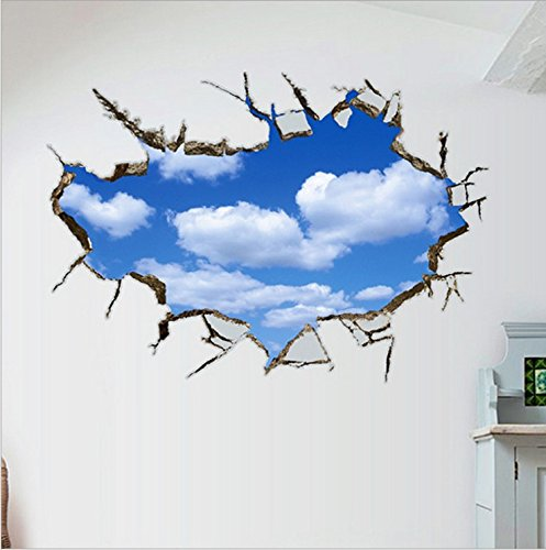 3D ウォールステッカー 青空 吹き抜け 雲 騙し絵 トリックアート はがせる 壁紙 シール 防水 DIY 壁 床 家具 インテリア 天井