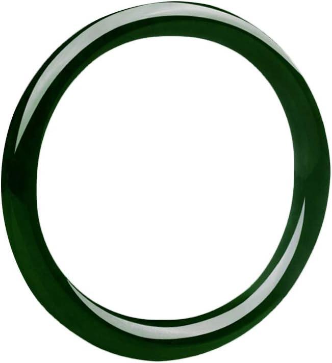 QJBMEI Genuine Hetian Jade Bangle Bracelet for Women, Chinese Style Green Bangle, H01-06,54mm