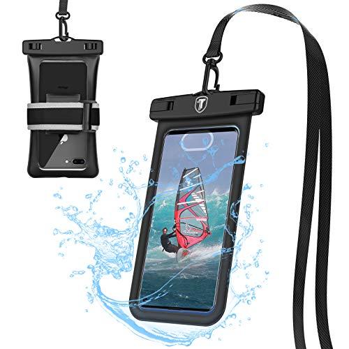 Tiflook Floating Waterproof Phone Pouch with Lanyard Armband Dry Bag Holder Underwater Case for LG Stylo 6 Stylo 5 Stylo 4 K51 V60 V40 G8X G8 G7 ThinQ K51 K31 K40 K92 Velvet Wing Journey LTE, Black
