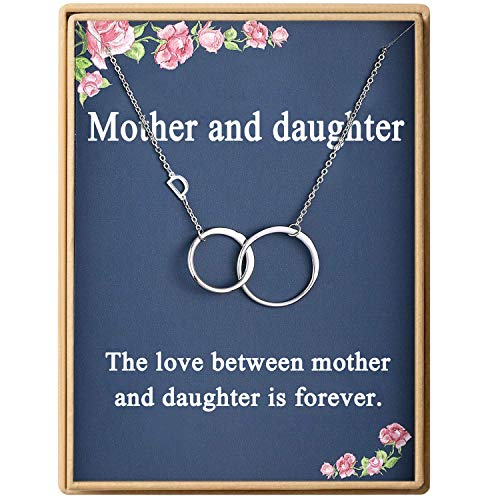 Mother and Daughter Necklace Initial Two Interlocking Infinity Double Circles Letter D Alphabet Necklace for Women