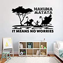 El Rey León Hakuna Mattata Pumba Timone Pegatina de pared para niños Dormitorio Vinilo Adhesivo extraíble Patrón de dibujos animados Wallpaper 42 * 67cm