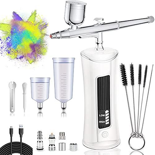 AUPERTO Kabellose Airbrush Set - Tragbare USB-aufladbare Doppelaktion Airbrush-Set mit LED-Display, Luftkompressor für Nageldesign, Make-up, Tattoos, Kuchen, und Gesichtsbemalung