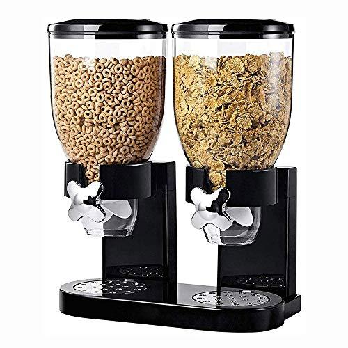 XZPENG Doppelkammer Airtight Getreide und Trockenfutter Spender for Haus, Küche, Theken, Frühstück, Haustier, Katzenfutter, Hundefutter, Candy, Pantry (Color : Black)