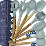 Kitchen Utensil Set-Silicone Cooking Natural Wooden Spoons-Cooking Tools for Nonstick Cookware-Kitchen...