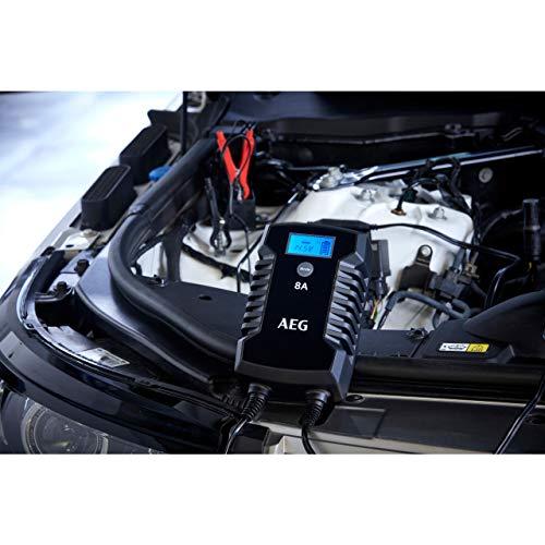 AEG Automotive 10618 Mikroprozessor-Ladegerät Auto Batterie LD 8.0, 8 Ampere für 12/24 V, 7-HF Ladestufen, Autostartfunktion Komfortanschluss