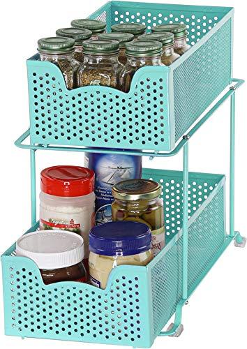 Simple Houseware 2 Tier Sliding Cabinet Basket Organizer Drawer Turquoise