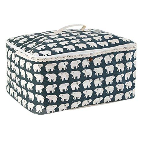 LifenewBaby Pliable Grande boîte de Rangement Durable en Lin Vêtements Closet surdimensionné Logé Organiseur avec Couvercle Toys Container 52,1 x 40,9 x 25,9 cm