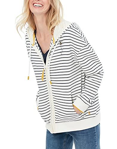 Joules Womens Oakham Zip Through Sweatshirt - Cream Navy Bee - 14