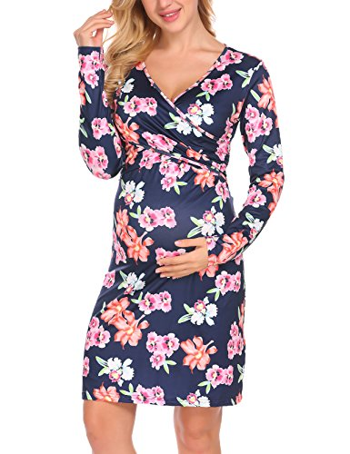 Aceshin Women's Maternity Comfy V Neck Ruched Casual Short A Line Dress, Pattern3, Medium