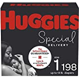Hypoallergenic Baby Diapers Size 1, 198 Ct, Huggies Special Delivery, Softest Diaper, Safe for Sensitive Skin