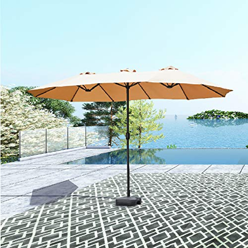 PatioFestival Double-Sided Outdoor Umbrella,15x9 ft Aluminum Garden Large Umbrella with Crank for Market,Camping,Swimming Pool (Middle, Khaki)