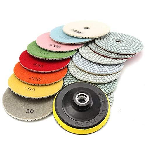 Pulido giro 4 pulgadas de 50 a 10000 granos de diamante tampones for pulir for el granito de piedra de mármol 16pcs hormigón