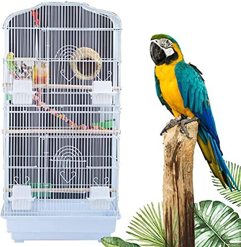 WXking Jaula para pájaros de Acero Inoxidable, Plataforma para pájaros con comederos y chasis extraíble, Altura 36,6 Pulgadas para Loro Guacamayo Gris Africano, periquitos, Periquito