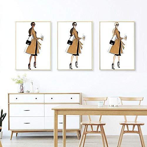 Mode vrouw foto poster drie haarkleur muur canvas schilderij thuis woonkamer decoratie 40x60cmx3-frameloze