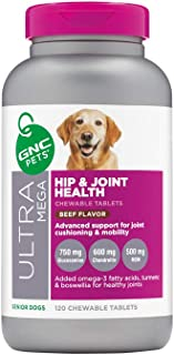 GNC Pets Ultra Mega Hip & Joint Health Chewable Tablets Dog Supplement for Senior Dogs, 120 Count - Beef Flavor | Advanced...