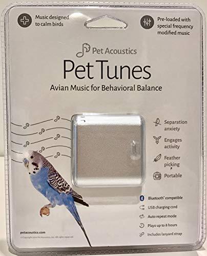 Pet Tunes avine Calmante Música Altavoz Bluetooth para pájaros, Plata, 3W