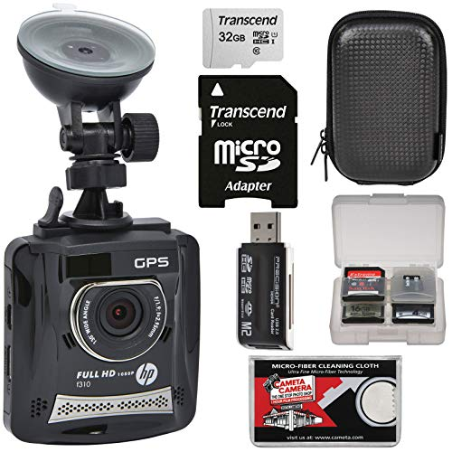 HP f310 1080p HD GPS G-Force Car Dashboard Video Recorder Camera with 32GB Card + Case + Kit