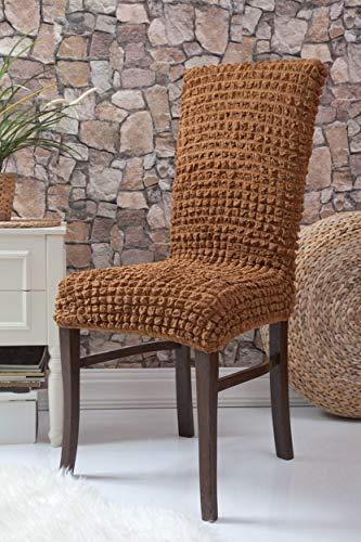 Mixibaby Fiora Stretch Stuhlhusse Stuhlbezug Elastische Husse Dekoration Stuhl Husse aus Elastik-Stoff für universelle Passform, Farbe:karamell